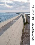 Concrete structure and sea - stock photo