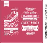wedding stamps pink | Shutterstock . vector #137925413