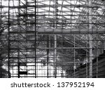 Large scale construction of an industrial facility - stock photo