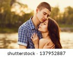 beautiful young couple... | Shutterstock . vector #137952887