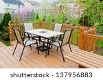 patio and garden of family home ... | Shutterstock . vector #137956883