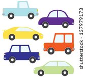 set of cartoon cars isolated on ... | Shutterstock . vector #137979173