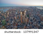 new york city skyline at sunset.... | Shutterstock . vector #137991347