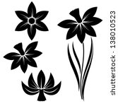 narcissus flower silhouette... | Shutterstock .eps vector #138010523