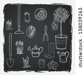 big set of hand drawn garden... | Shutterstock .eps vector #138039263