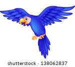 cute blue parrot cartoon flying | Shutterstock . vector #138062837