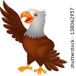 cute eagle cartoon waving | Shutterstock .eps vector #138062957