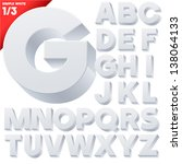 vector alphabet of simple 3d... | Shutterstock .eps vector #138064133