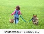 Little Girl With Dog Walking O...