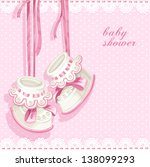 baby shower card with pink... | Shutterstock .eps vector #138099293