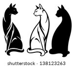 Stock vector elegant sitting cats vector design black and white outlines and silhouette 138123263