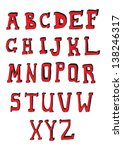 red hand drawn alphabet | Shutterstock .eps vector #138246317