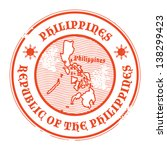 Grunge rubber stamp with the name and map of Philippines, vector illustration