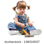 baby girl with working tool | Shutterstock . vector #138310037