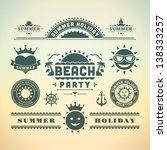 retro summer design elements.... | Shutterstock .eps vector #138333257