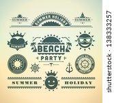 retro summer design elements.... | Shutterstock .eps vector #138333257