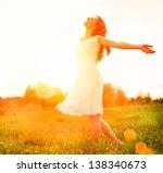 enjoyment. free happy woman... | Shutterstock . vector #138340673
