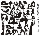 silhouettes of yoga positions   Shutterstock .eps vector #138355847