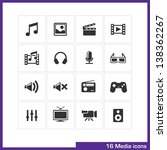 media icon set. vector black... | Shutterstock .eps vector #138362267