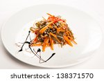 Japanese salad with liver - stock photo