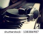 Piano Keyboard With Headphones...