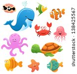 sea animals | Shutterstock .eps vector #138425567