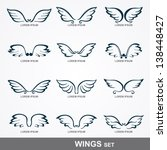 wings collection  set of wings  | Shutterstock .eps vector #138448427