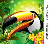 Toucan Close Up Art Design on Tropical Jungle - stock photo