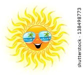 Summer Sun Cartoon with Sunglasses - stock photo