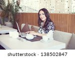 businesswoman drinking tea and... | Shutterstock . vector #138502847