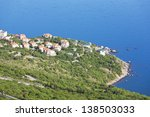 beautiful town by the sea. bird's-eye view - stock photo