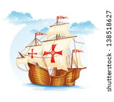 Cartoon image of a sailing ship of Spain, XV century