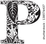 Floral Initial Capital Letter P