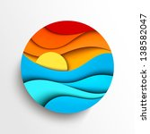 Sunset in the sea. Stylized vector icon illustration - stock vector