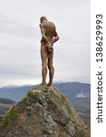 Small photo of EXTREMADURA, SPAIN - MAR 16 - Francisco Cedenilla Carrasco sculpture looking out over El Torno is dedicated to victims of the Civil war and General Franco's dictatorship. Extremadura Mar 16, 2013.