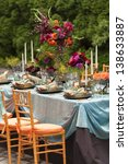 fancy outdoor event table and... | Shutterstock . vector #138633887