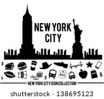 New York City skyline and icon collection. Vector illustration.