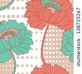 retro poppy seamless vector... | Shutterstock .eps vector #138725267