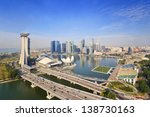 Singapore Skyline And View Of...