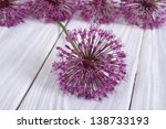 Alium Purple Flower On A Woode...