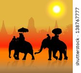 elephant tourist at sunset in...   Shutterstock . vector #138767777