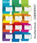 2014 calendar   vector... | Shutterstock .eps vector #138898907
