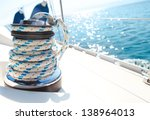 Постер, плакат: Sailboat winch and rope