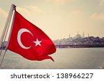 turkey flag in bosphorus and...