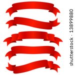 set of five curled red ribbons  ... | Shutterstock .eps vector #13899880