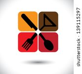 Abstract Colorful icons of spoon,knife,fork & glass- vector graphic. This illustration represents signs and symbols for hotel, restaurants, food blogs, websites, etc
