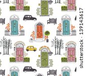 pattern with colored doors   Shutterstock .eps vector #139143617
