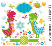 dinos card  happy cute colorful ... | Shutterstock .eps vector #139160453