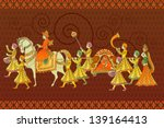 easy to edit vector illustration of traditional Indian wedding barati