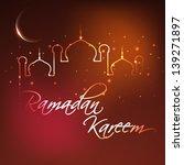 Ramadan Kareem background with illuminated Mosque or Masjid and shiny moon.